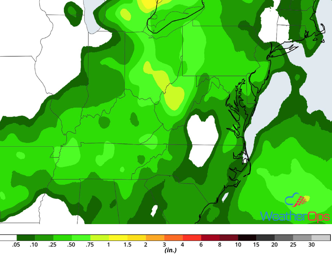 Rainfall Accumulation for Wednesday, August 8, 2018