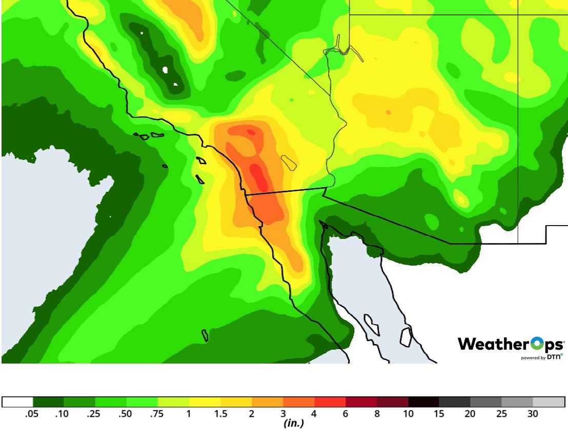 Rainfall Accumulation for Thursday, February 14, 2019