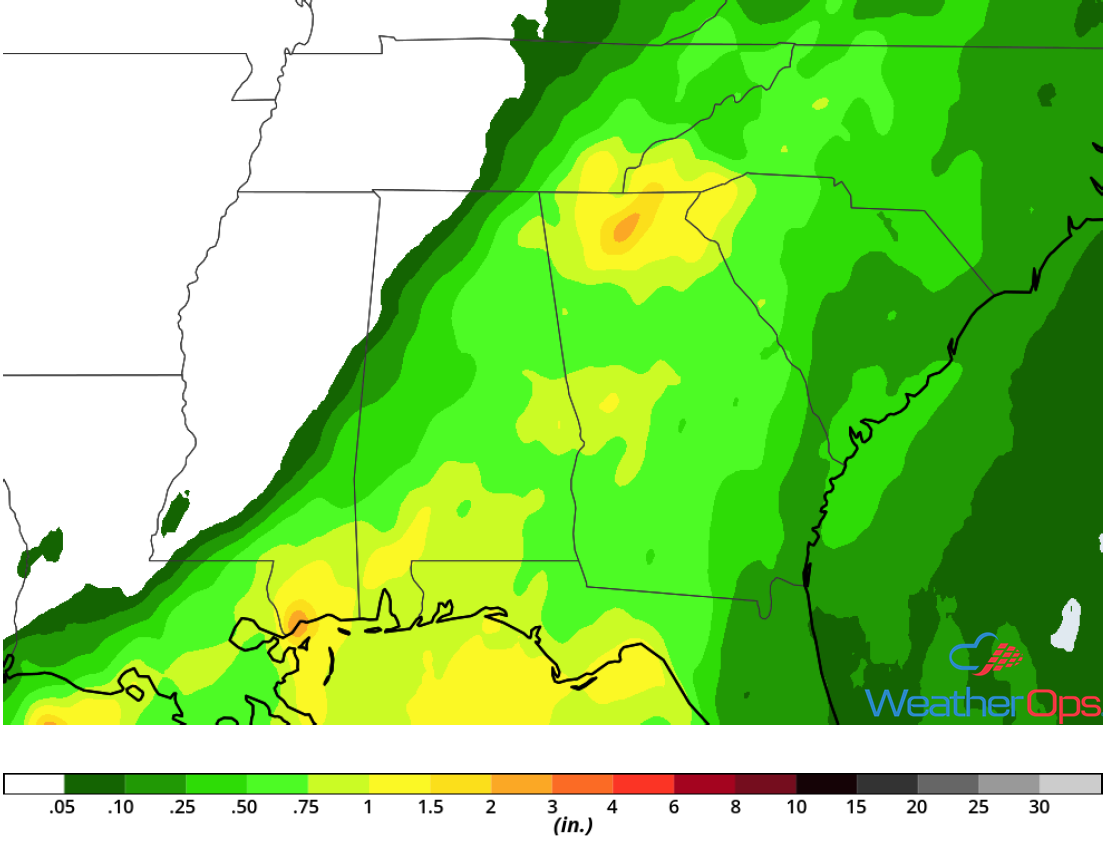 Rainfall Accumulation for Wednesday, August 1, 2018