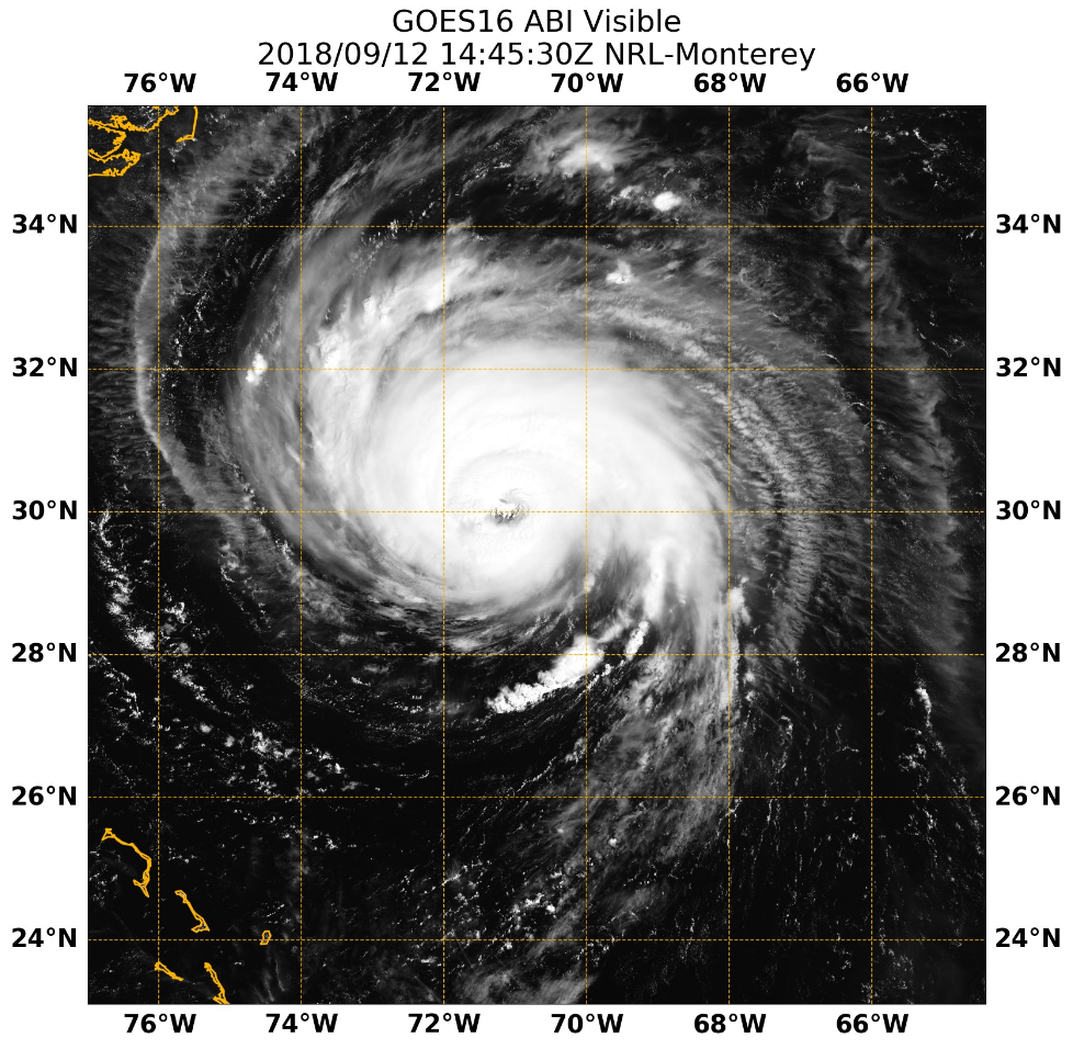 Hurricane Florence on Visible Satellite