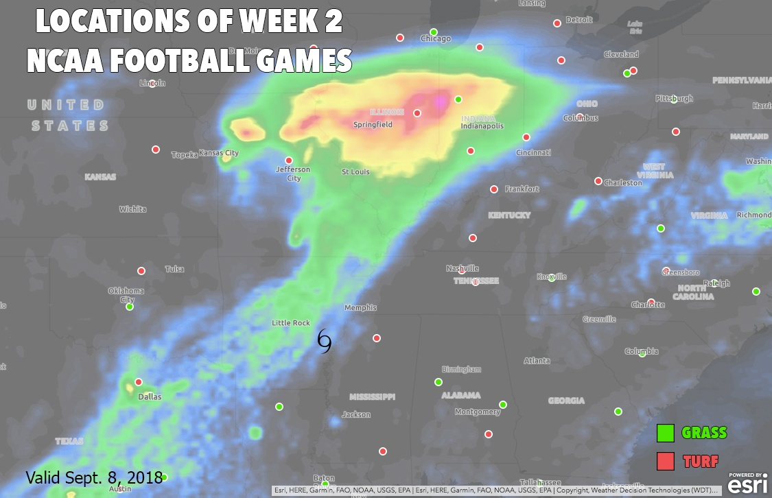 Locations of Week 2 NCAA Football Games