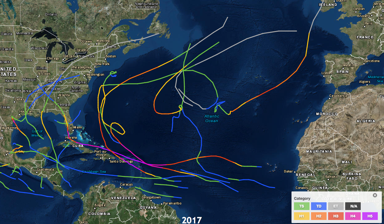 2017 Tropical Cyclone Paths