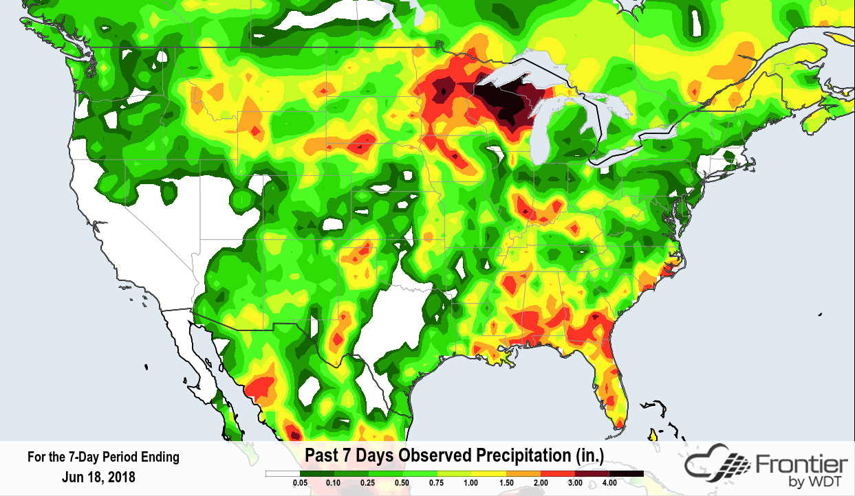 Past 7 Days Precipitation ending on Monday 6/18/18