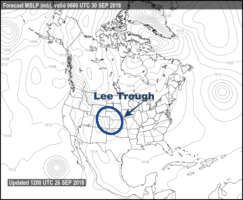 Lee Trough on a Weather Map