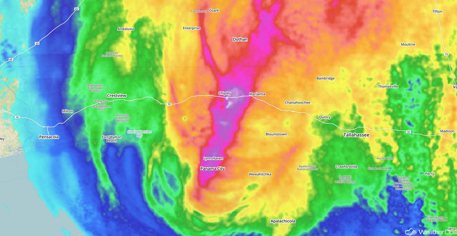 Rainfall totals from Hurricane Michael 10/10/18