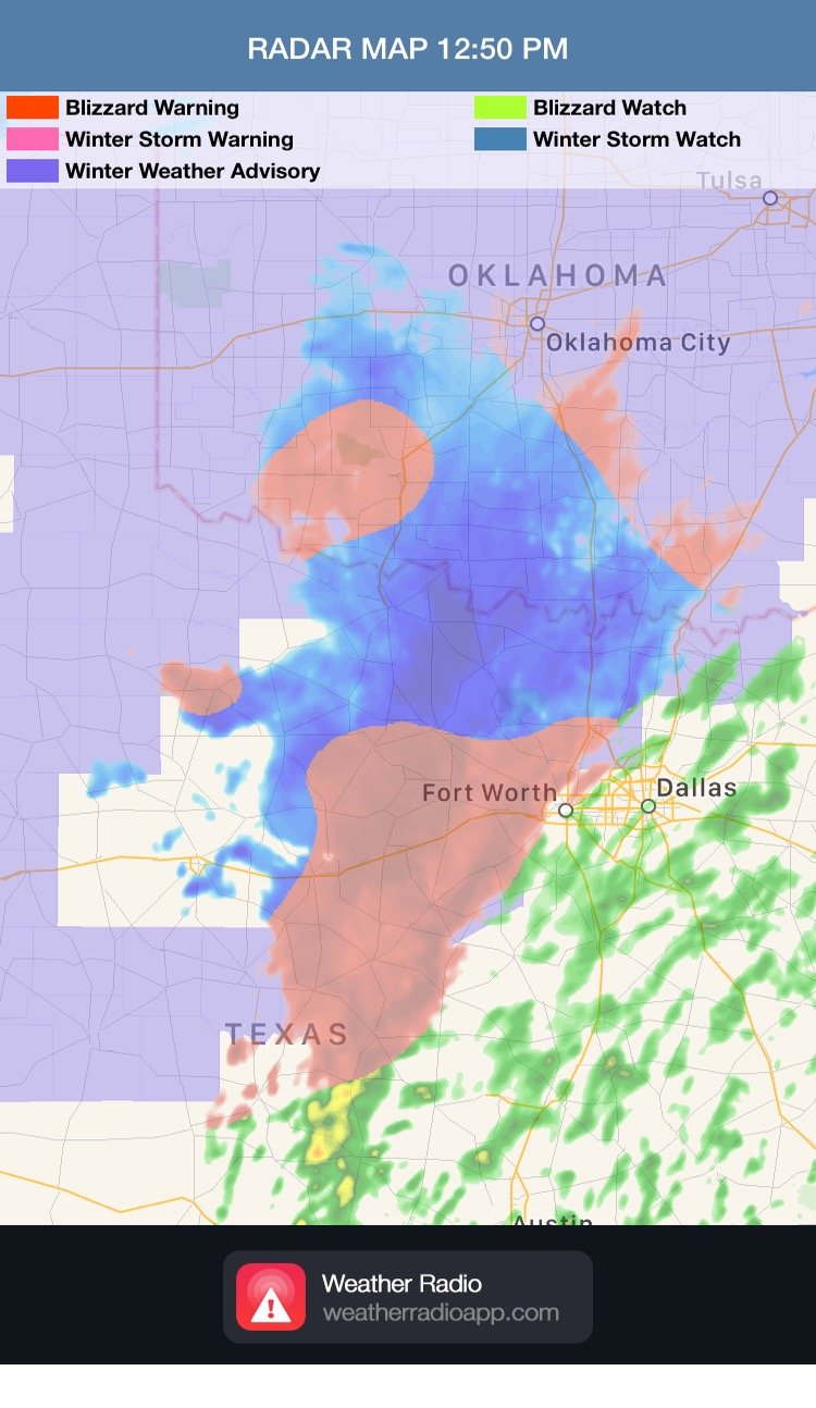 NWS Advisories and Radar 12:50pm CST 2/21/18