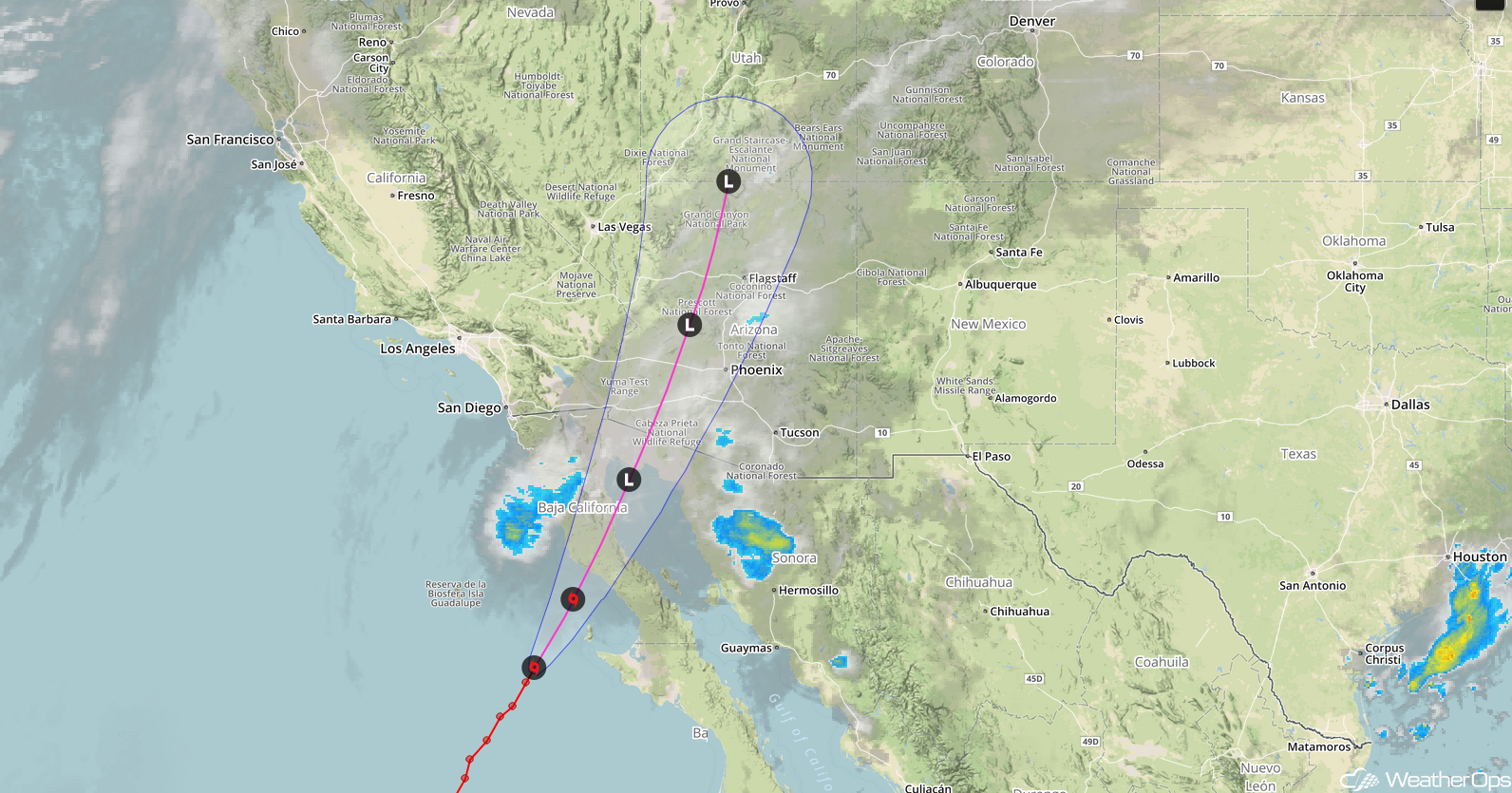 Tropical Storm Rosa Satellite Image and Forecast Track