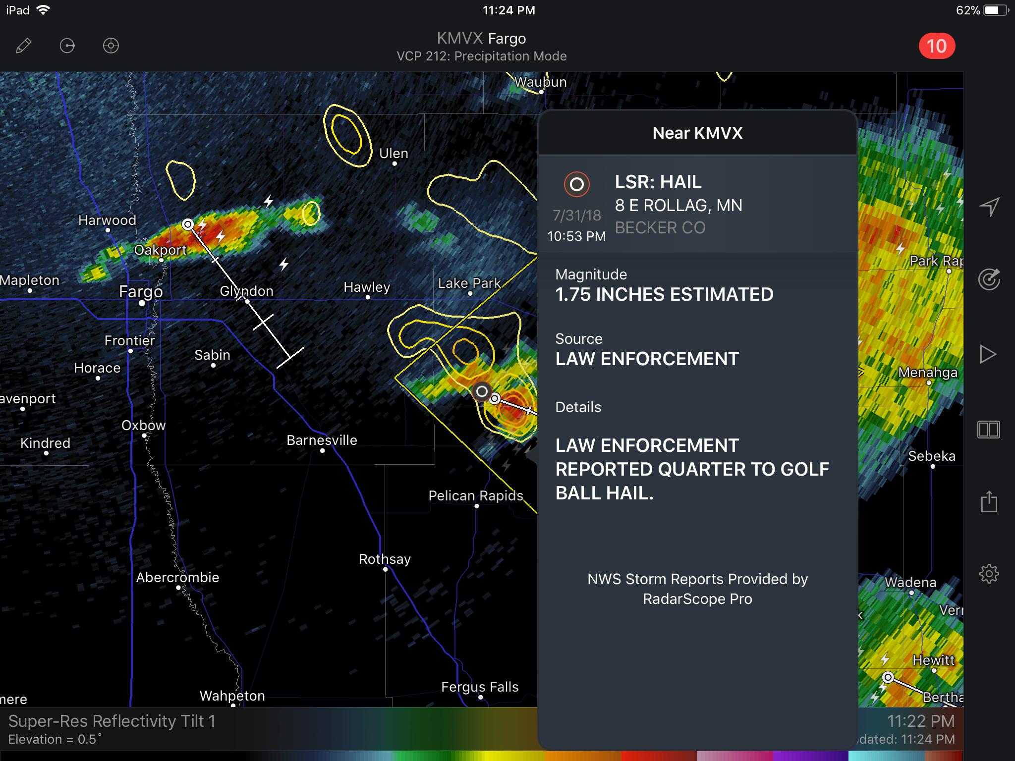 Local Storm Report in RadarScope