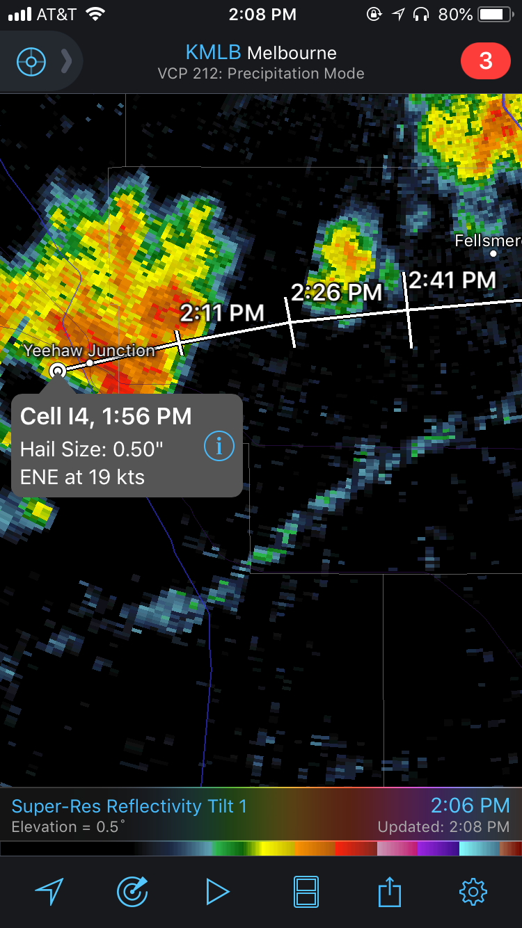 Example of a Storm Track in RadarScope