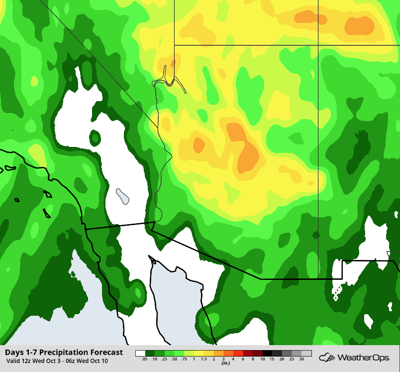Rainfall Accumulation Through 11pm PDT Tuesday