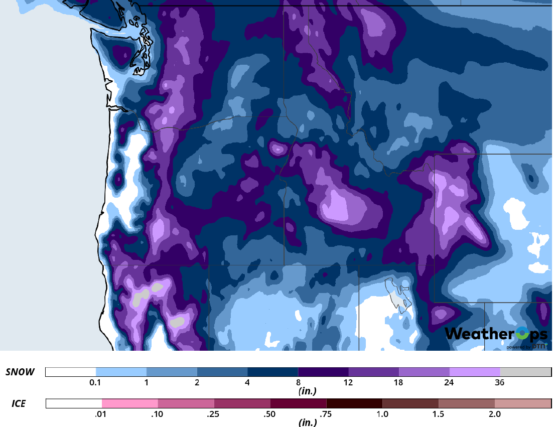 Snow Accumulation for February 12-14, 2019