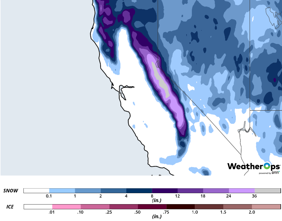 Snow Accumulation for February 15-16, 2019