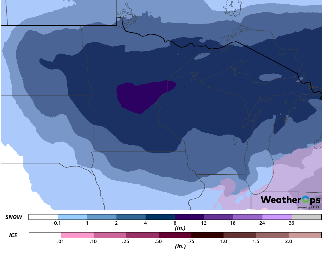 Snow Accumulation for Wednesday, February 20, 2019