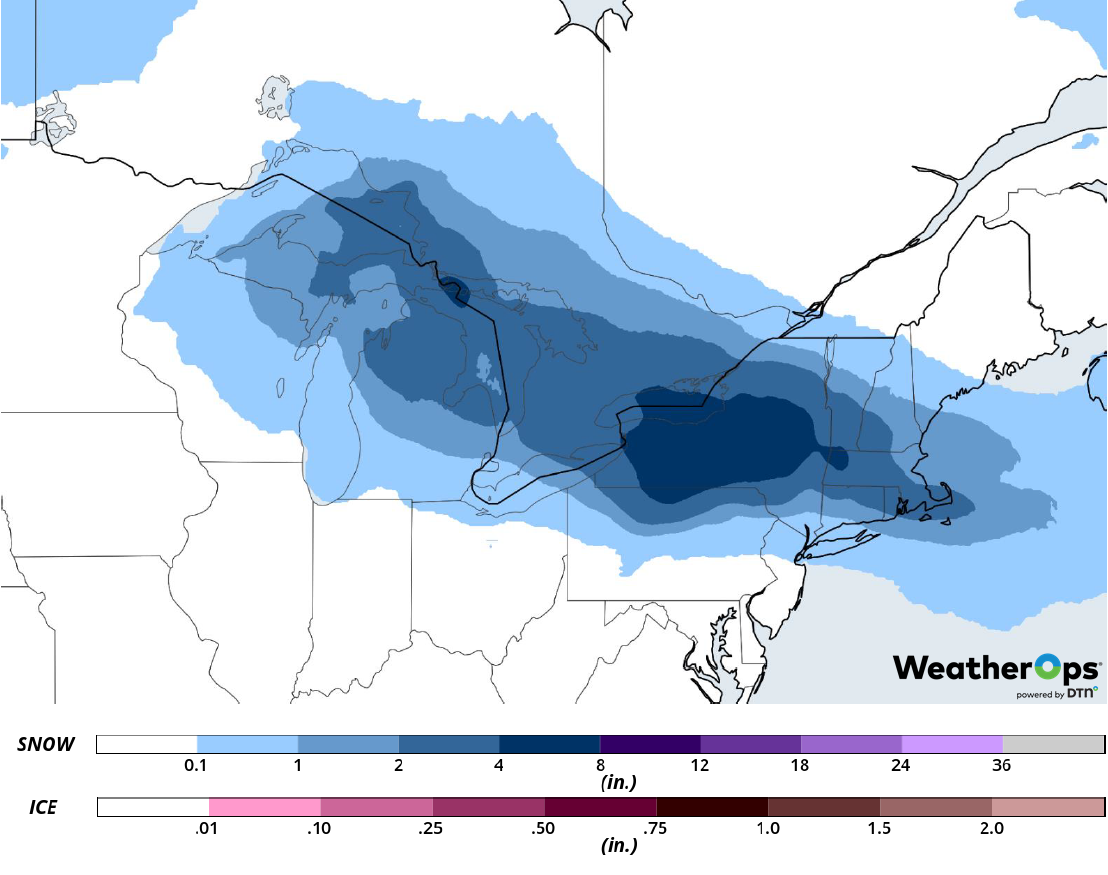 Snow Accumulation for Wednesday, February 27, 2019