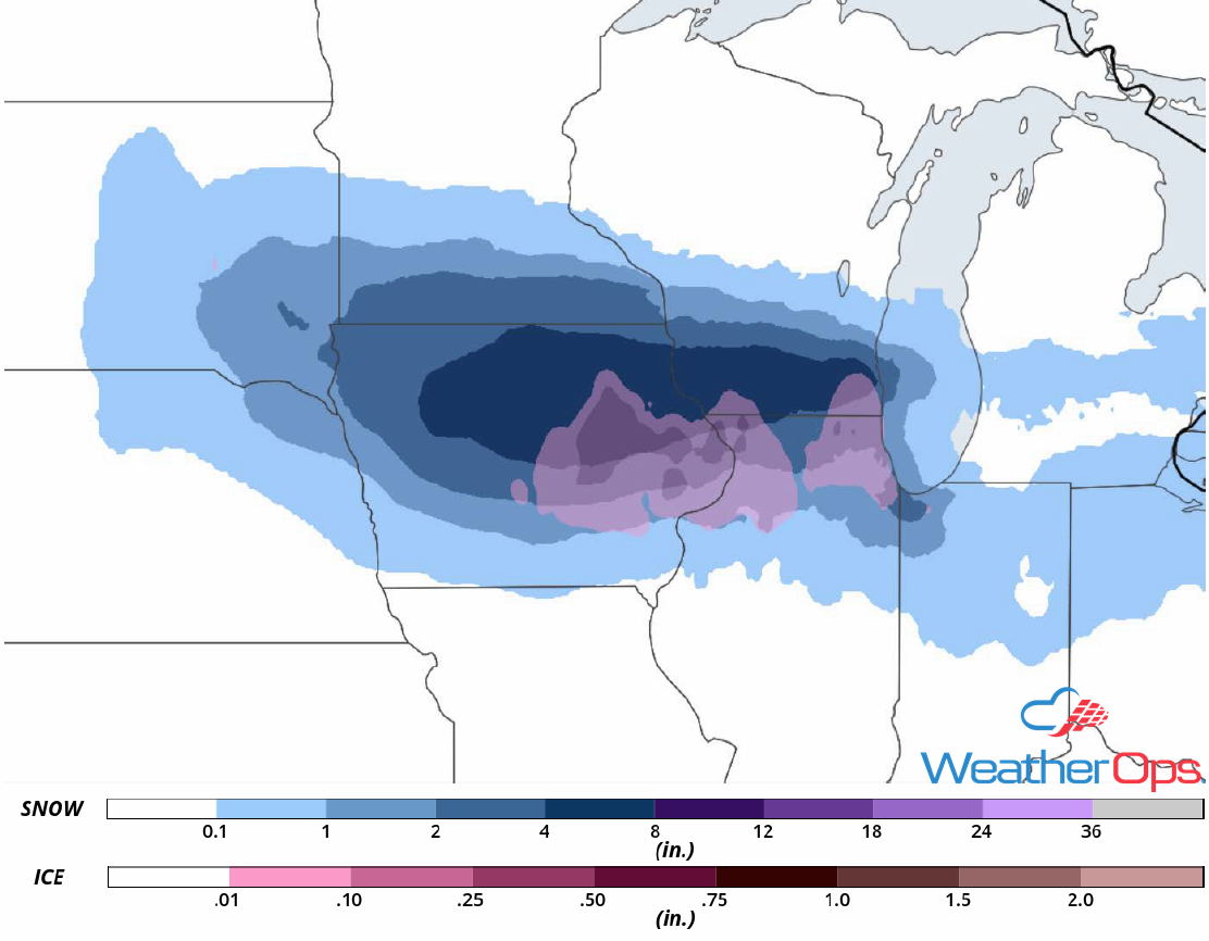 Snow Accumulation for Wednesday, April 18, 2018