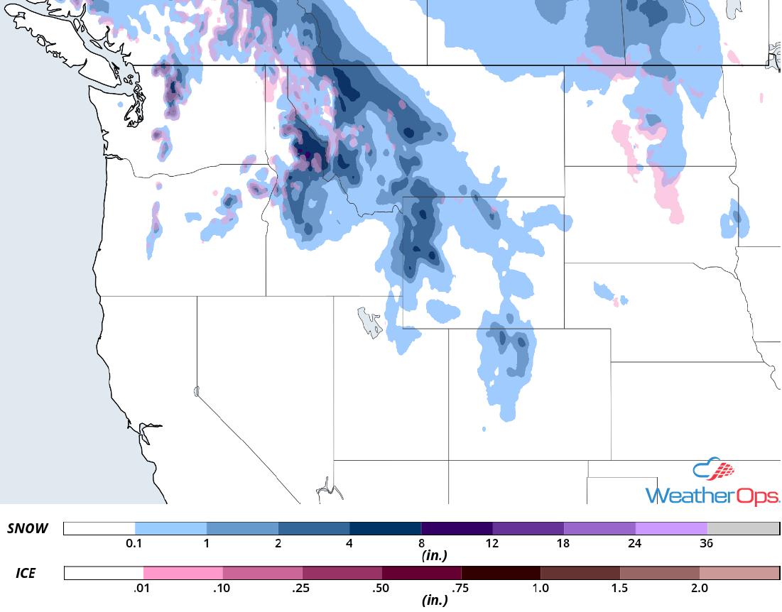 Snow Accumulation for Monday, November 5, 2018
