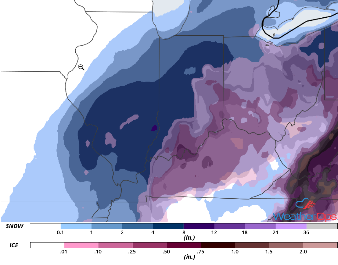 Ice and Snow Accumulation for November 14-15, 2018