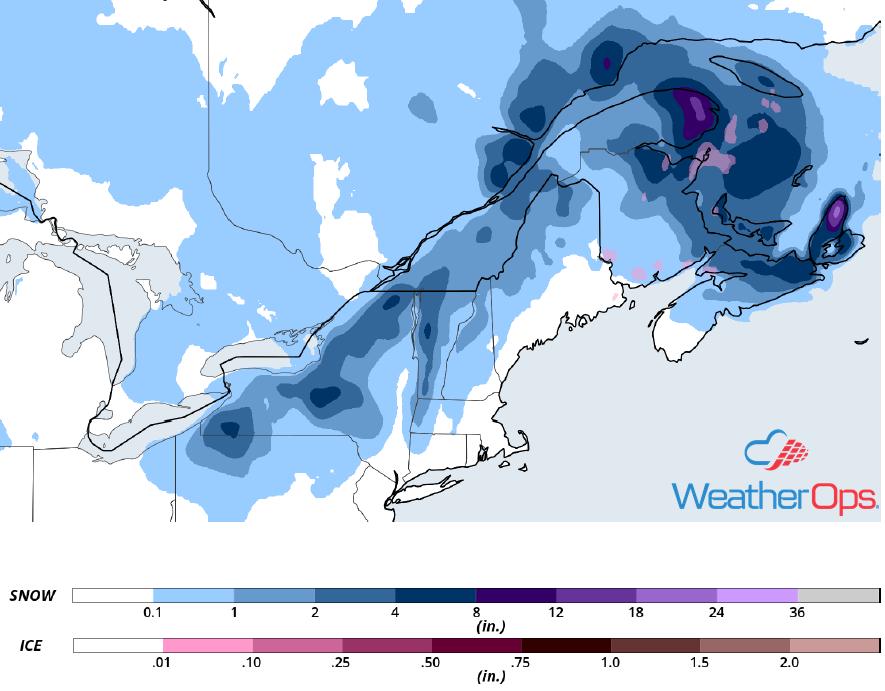 Snowfall Accumulation for Wednesday, November 28, 2018