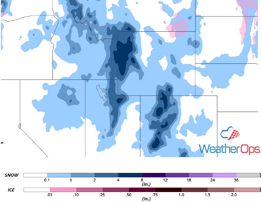 Snow and Ice Accumulation for Wednesday, December 12, 2018