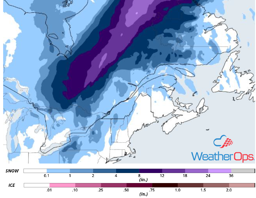 Snow Accumulations for December 21-22, 2018