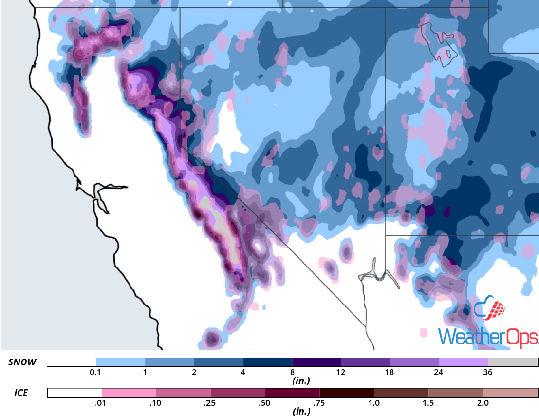 Snow and Ice Accumulation for January 14-17, 2019