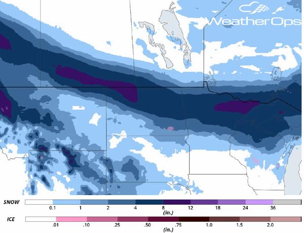 Snowfall Accumulation March 30-31, 2018