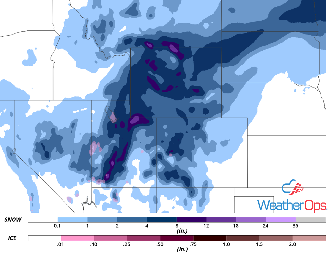 Snow Accumulation for Monday, January 21, 2019