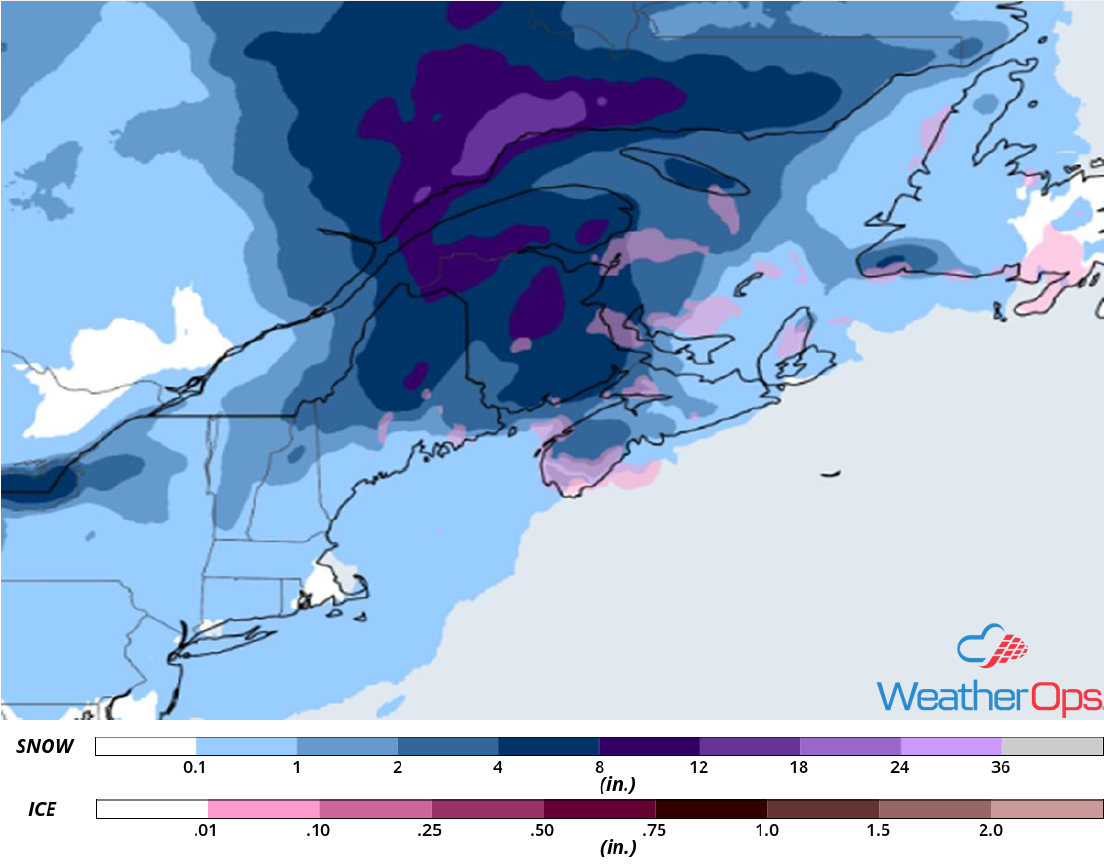 Snow Accumulation for Wednesday, January 30, 2019