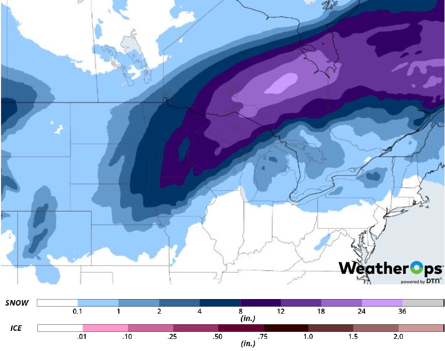 Snow Accumulation February 6-8, 2019