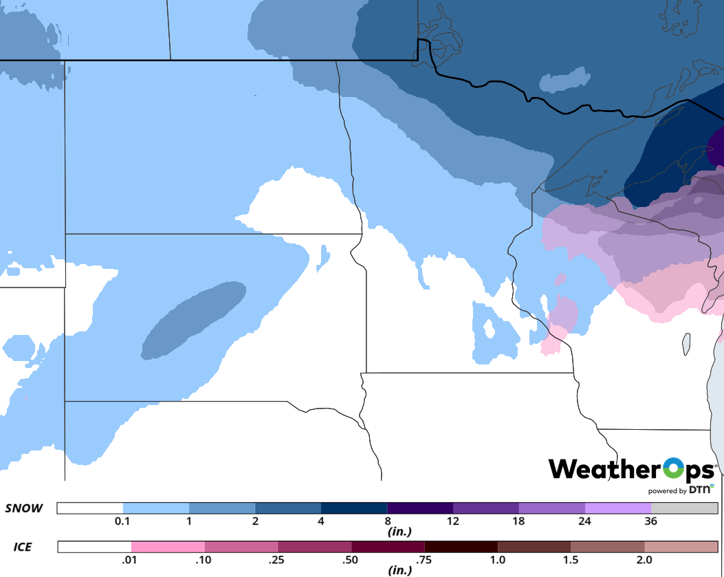 Snow and Freezing Rain Accumulation for February 6-7, 2019