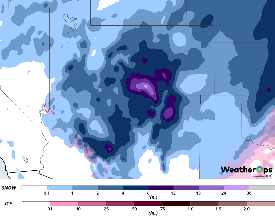 Snow Accumulation for February 18-19, 2019