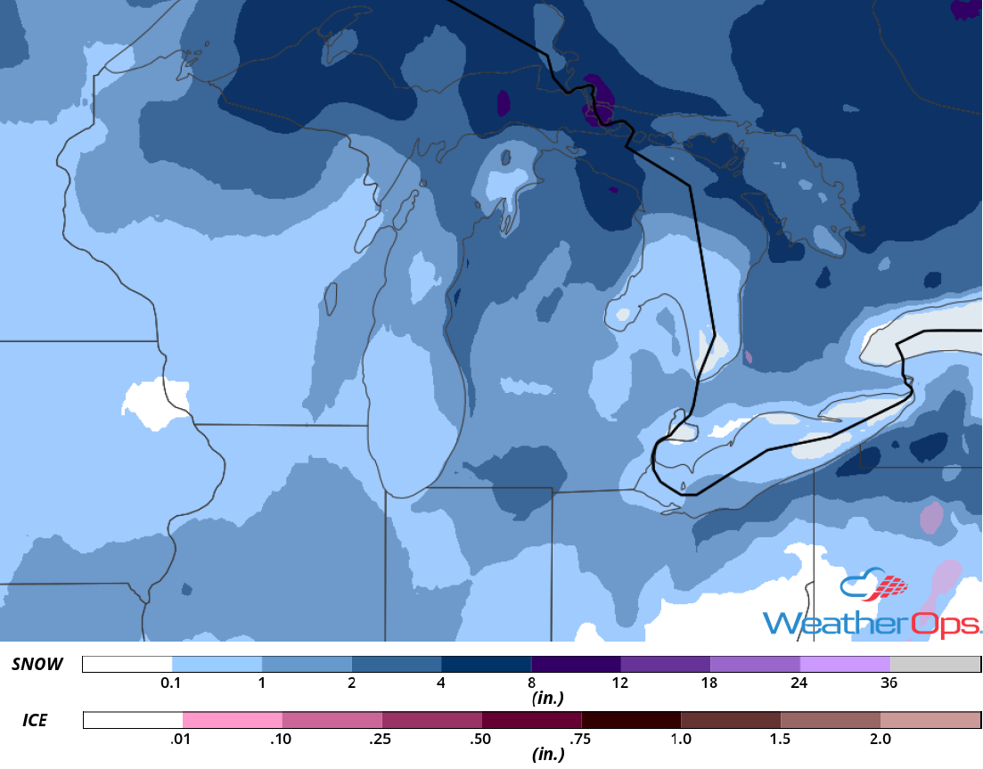 Snow Accumulation for November 9-10, 2018