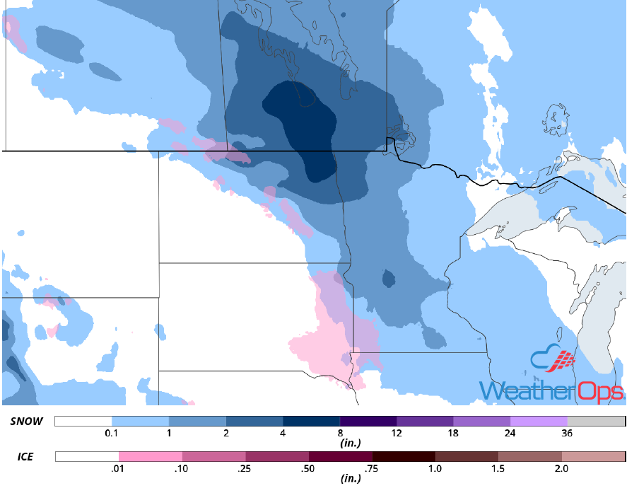 Snow and Ice Accumulation for Wednesday. November 28, 2018