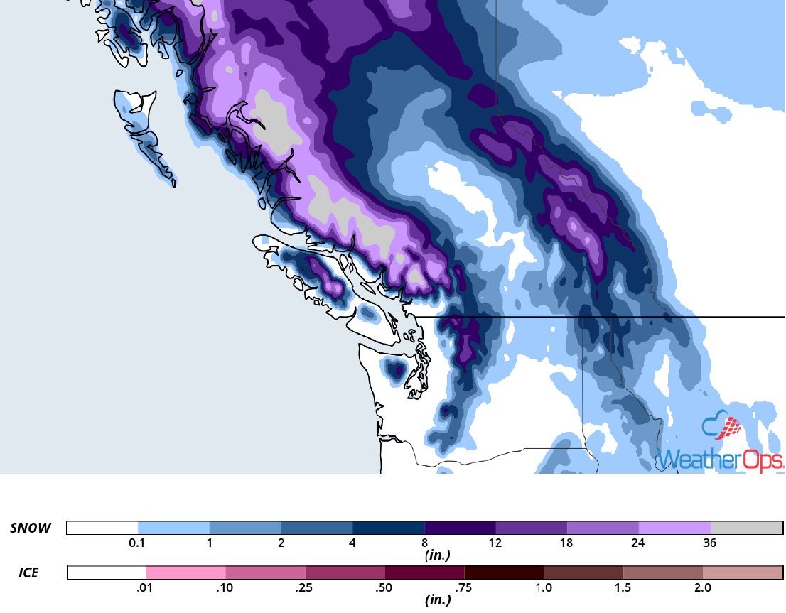 Snow Accumulation December 13-15, 2018