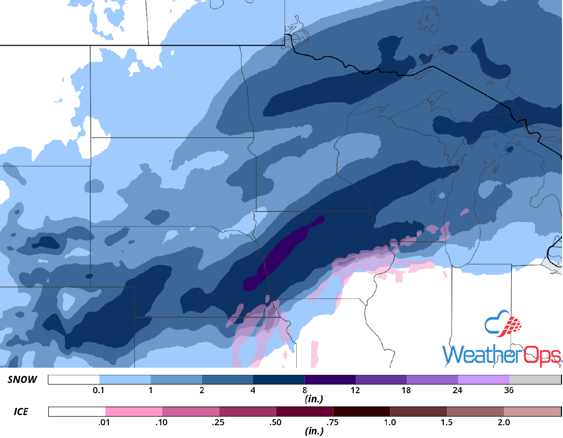 Snow Accumulation for Tuesday, January 21, 2019