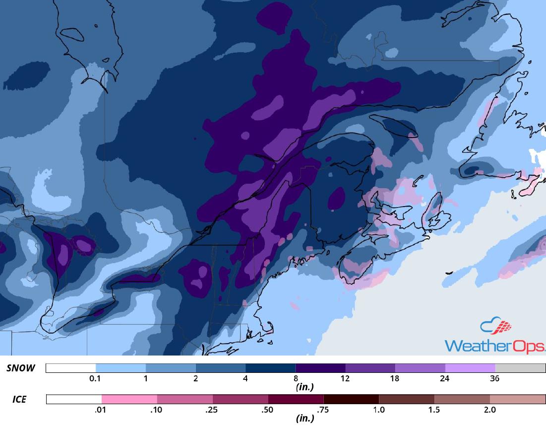 Snowfall Accumulation for January 28-29, 2019