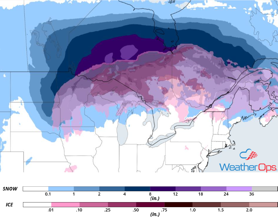 Snow Accumulation for Monday, February 4, 2019