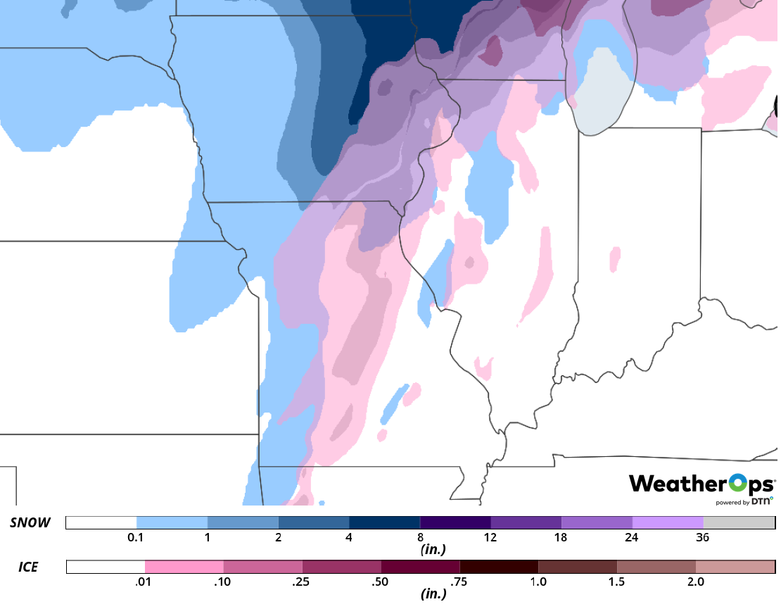 Snow and Ice Accumulation for Thursday, February 7, 2019
