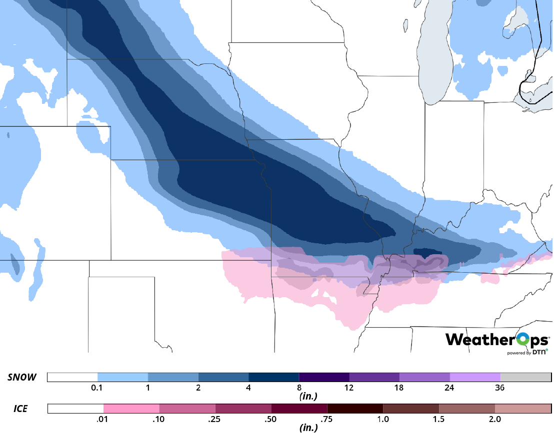 Snow and Ice Accumulation for Friday, February 15, 2019