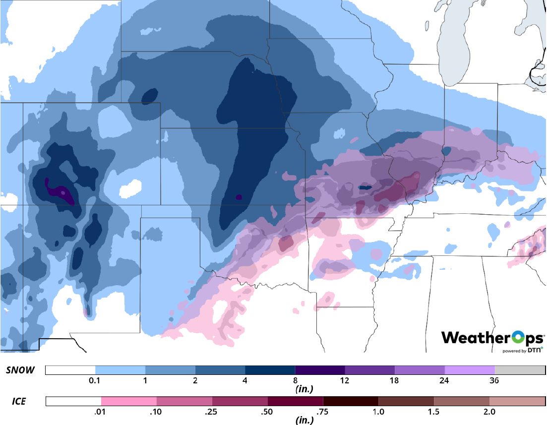 Snow and Ice Accumulation for Tuesday, February 19, 2019