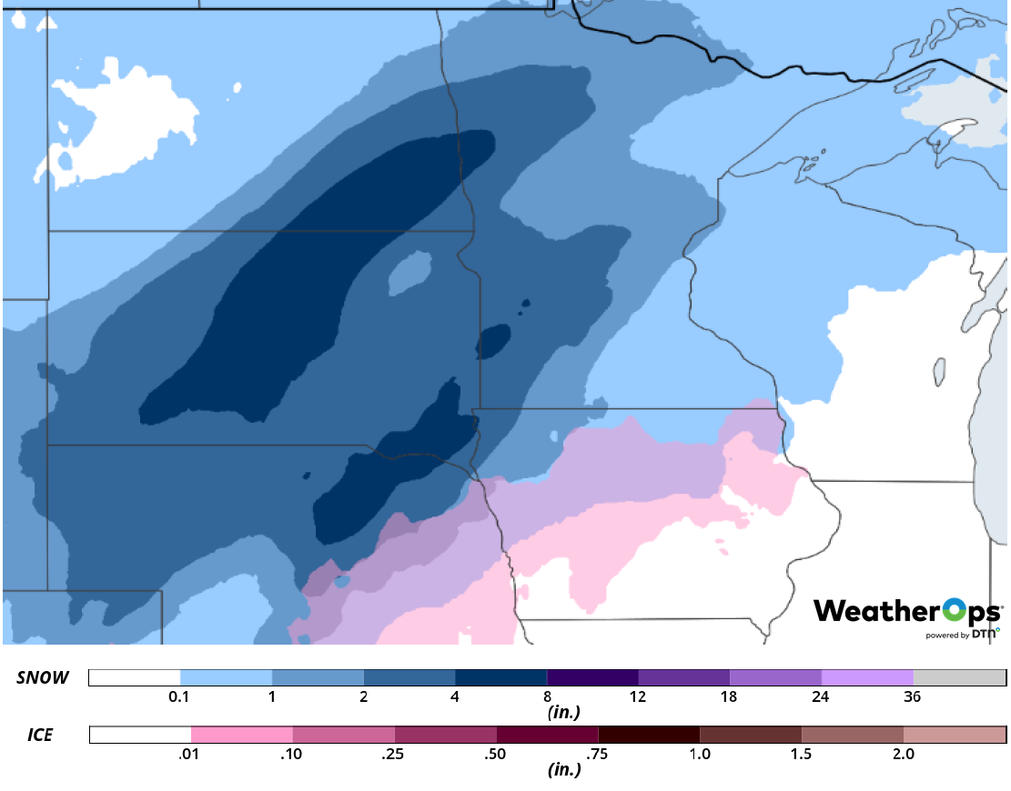 Snow Accumulation for Friday, January 22, 2019