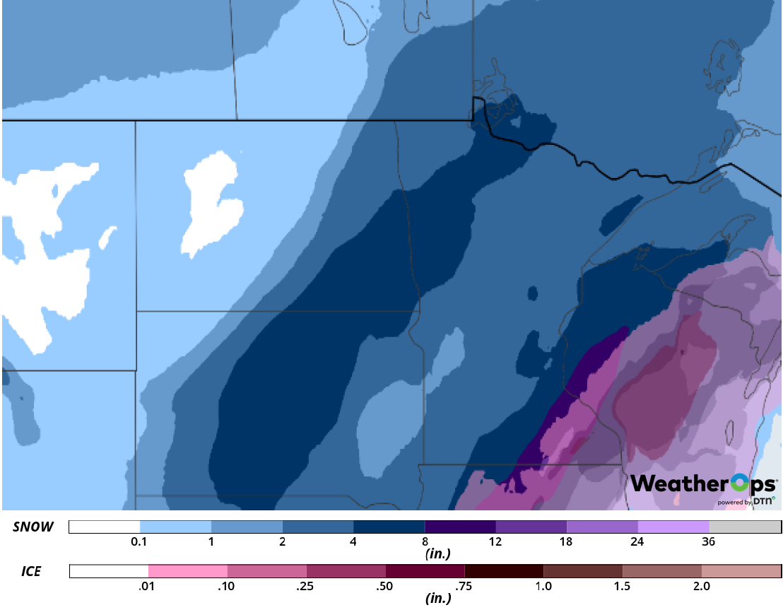 Snow Accumulation for February 22-23, 2019