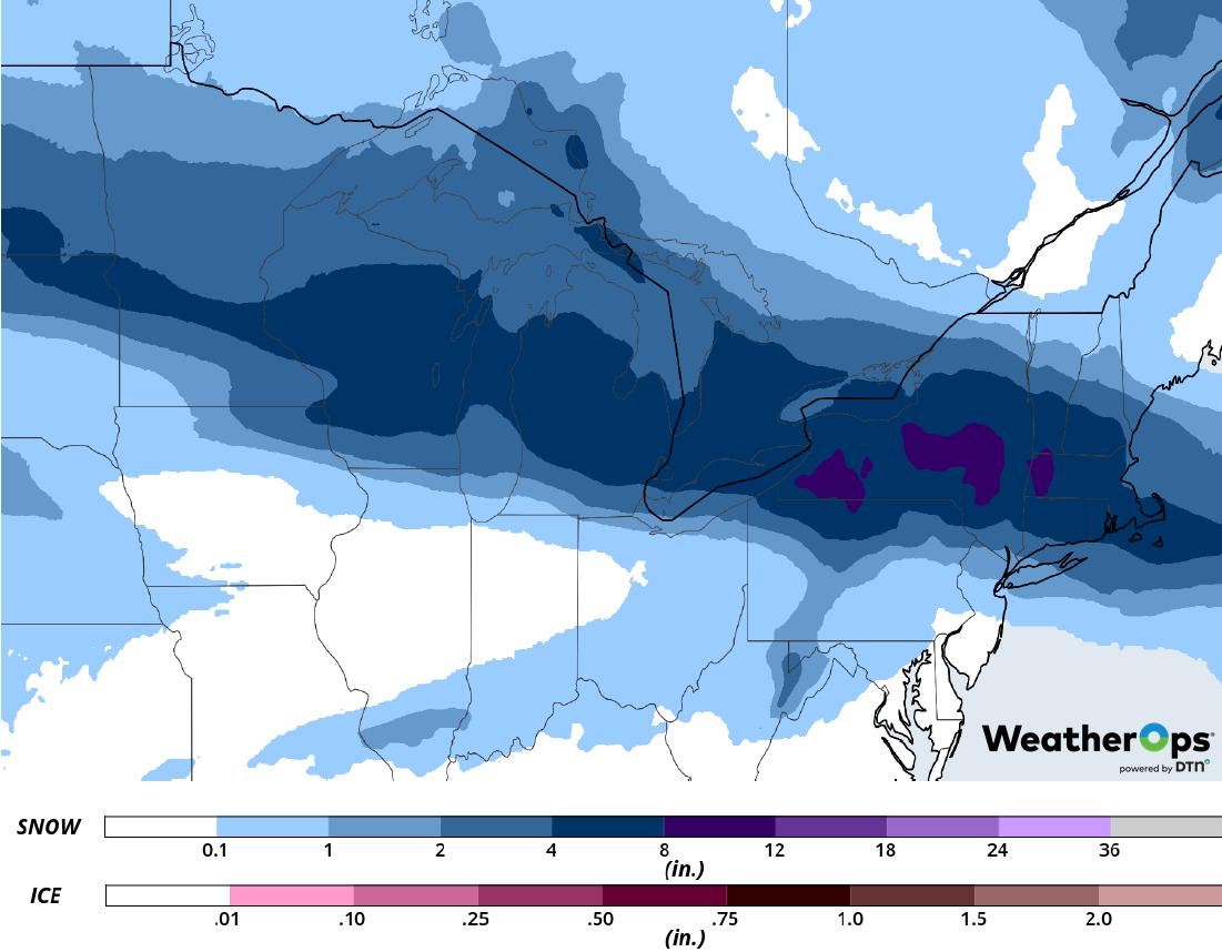 Snowfall Accumulation for February 26-27, 2019