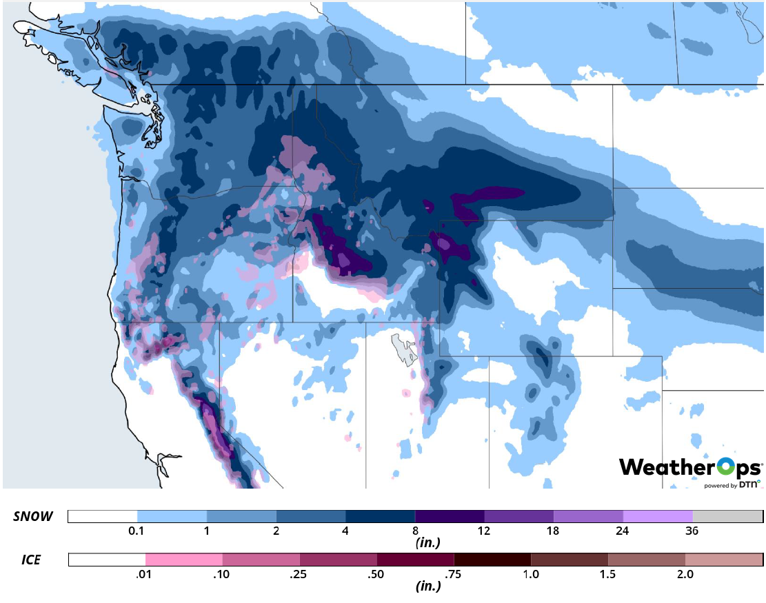 Snow Accumulation for February 27-28, 2019