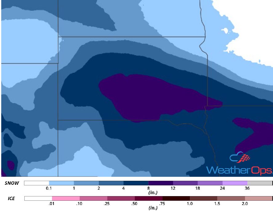 Snow Accumulation for January 17-18, 2019