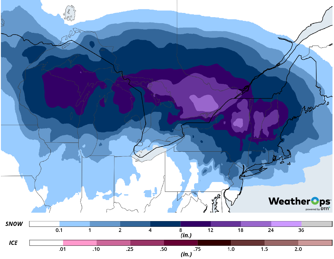 Snow Accumulation for Tuesday, February 12, 2019
