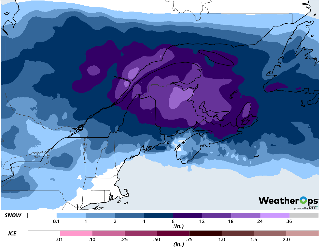 Snowfall Accumulation for Wednesday, February 13, 2019