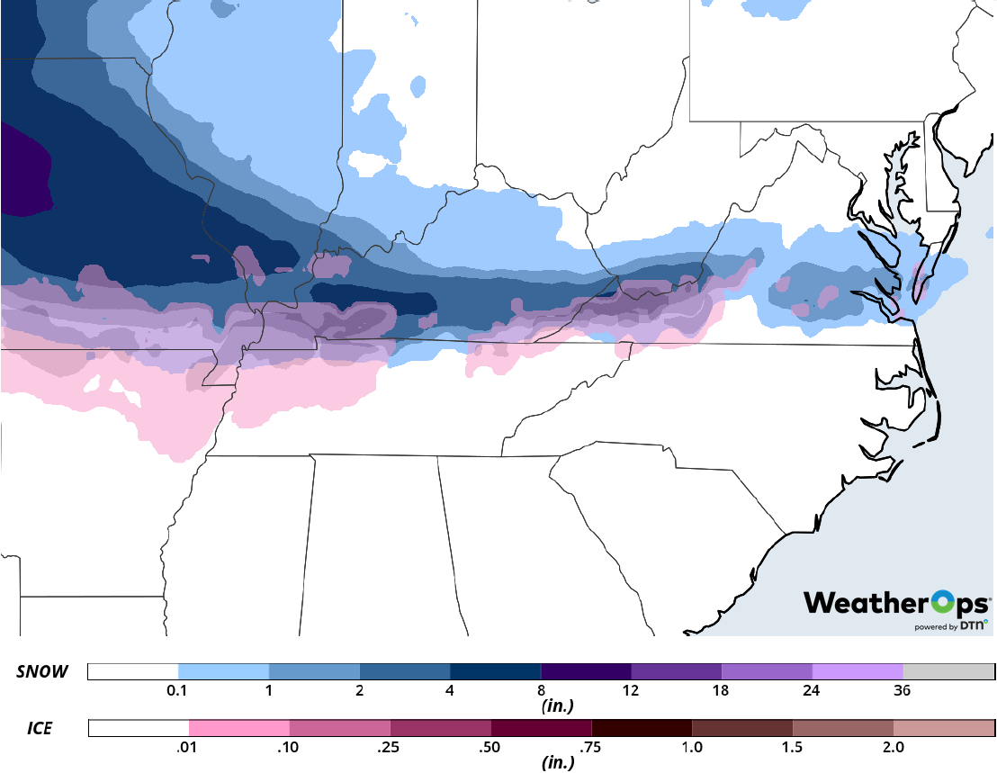 Snow and Ice Accumulation February 15-16, 2019