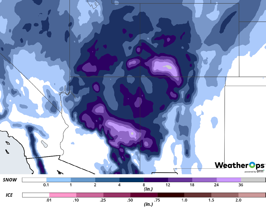 Snow Accumulation for February 20-22, 2019