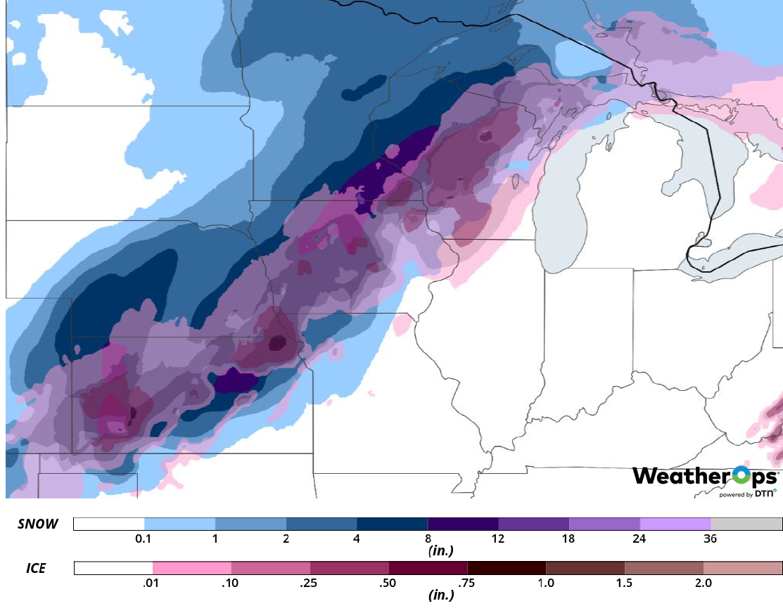 Snow and Ice Accumulation for Saturday, February 23, 2019